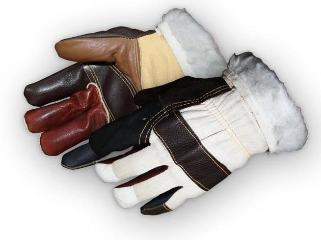 Перчатки рабочие теплые из кусочков кожи RLKOPAS (Reis), фото 2