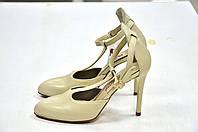 Бежевые кожаные босоножки с закрытым носком Valentino к.-509, фото 1