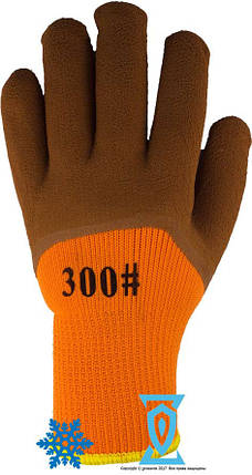 Рукавички робочі теплі покриті спіненим латексом #300, фото 2