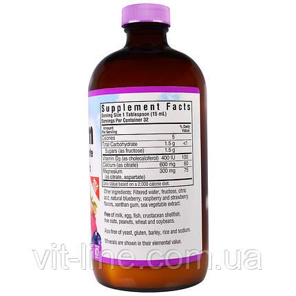 Bluebonnet Nutrition, Жидкий кальций и цитрат магния плюс витамин D3, вкус натурального ягодного ассорти, фото 2