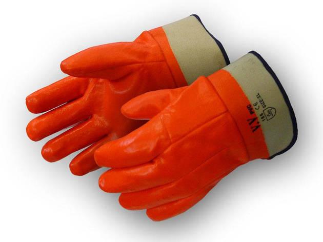 Перчатки рабочие теплые бензомаслостойкие Пламя твердый манжет, фото 2