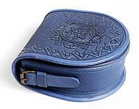 Кожаная женская сумка, синяя сумочка, сумка через плечо,  авторская сумка ручной работы
