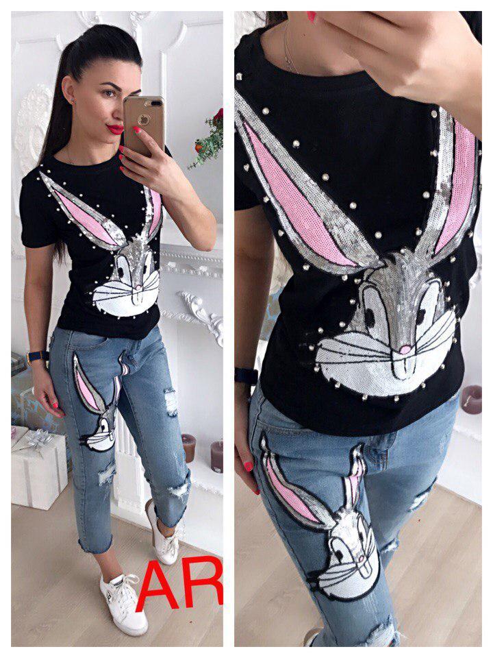 Костюм джинсы и футболка с накаткой багз банни