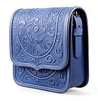 Кожаная женская сумка, синяя сумочка, сумка через плечо, фото 1