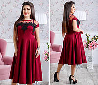 303fa72d81f Нарядное платье с расклешенной юбкой креп дайвинг+сетка+дорогое кружево  Размеры  48-