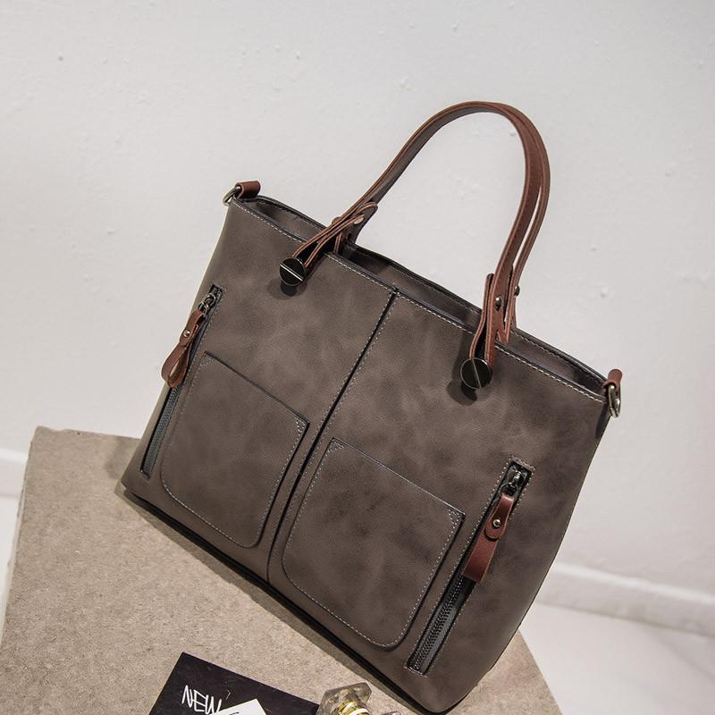 668f29abebc1 Стильная большая вместительная женская сумка серого цвета: продажа ...