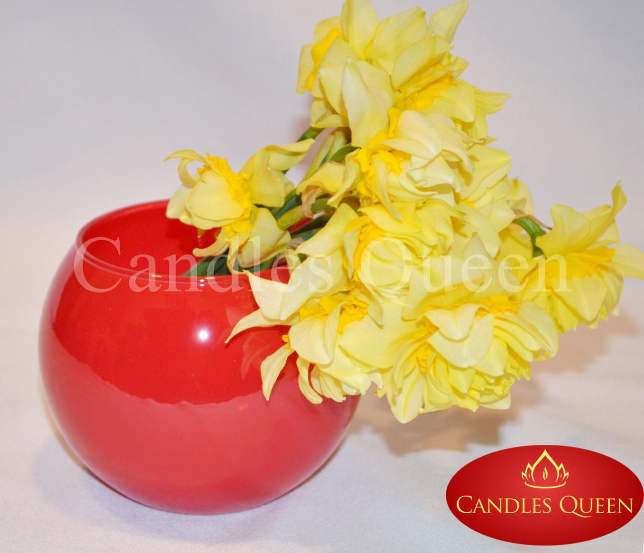 Ваза цветная шар 100 х 120 мм цвет красный глянец непрозрачный