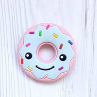 Пончик ( розовый/голубой верх), силиконовый прорезыватель для зубов