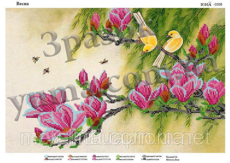 """Схема для вышивки бисером на атласе """"Весна"""""""