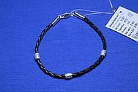 Серебряный браслет с кожей Плетеный 19 см 1501