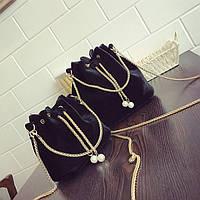 Женская сумочка маленькая бархатная черная мешочек на завязках, фото 1