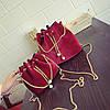 Жіноча сумочка маленька оксамитова червона мішечок на зав'язках опт