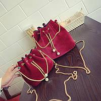 Жіноча сумочка маленька оксамитова червона мішечок на зав'язках опт, фото 1