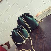 a48594cee7ec Женская сумочка маленькая бархатная зеленая мешочек на завязках ...