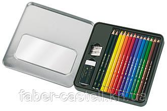 Набор цветных карандашей Faber-Castell Polychromos 12 цветов с аксессуарами в металлической коробке, 110040