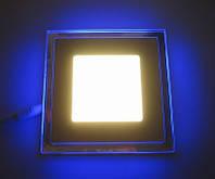 Потолочный точечный светильник с синей подсветкой 3W 4500K квадратный Код.58661