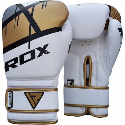Боксерские перчатки RDX Rex Leather Gold 14 ун., фото 2
