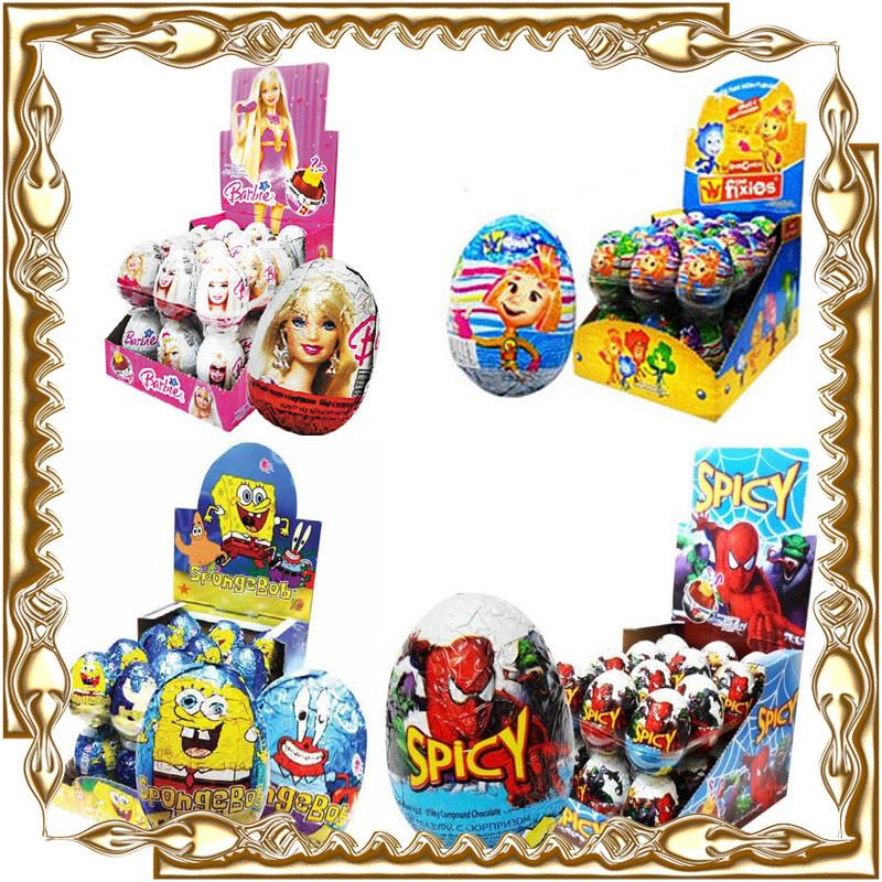 """Шоколадные яйца """"Kinder"""" с сюрпризом (киндер аналог) 24 шт."""