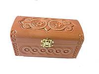 Шкатулка деревянная резьбленная с бисером (резная,рубленая)16*8*10