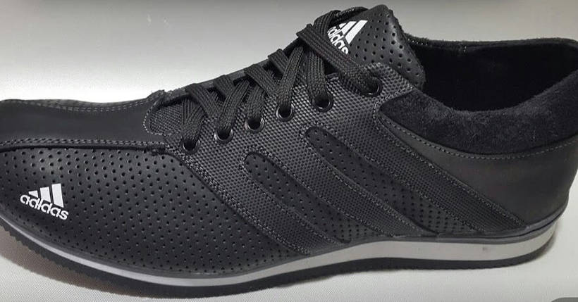 Кроссовки мужские Adidas.Кожа,перфорация.Черные, фото 2