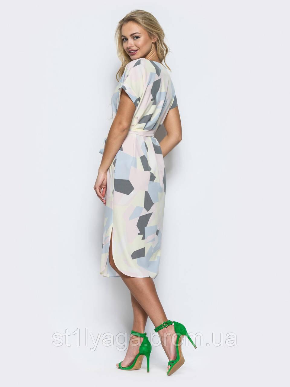 ad882906aee ... Платье прямого кроя из легкого софта с прорезными карманами в швах и  поясом в комплекте