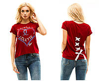 Женская футболка Шанель на спине завязывается лентой вискоза качество люкс Размеры: 42-46 48-52