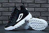 Женские и подростковые кроссовки Fila Disruptor II Black White  , фото 1