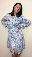 Платье-рубашка из штапеля с длинным рукавом П229