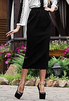 Строгая черная юбка миди в офис Л-191
