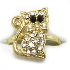 Кольцо Котик, под Золото с Белыми Стразам,  Безразмерное