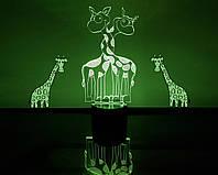 """Детский ночник - светильник """"Влюбленные жирафики"""" 3DTOYSLAMP"""
