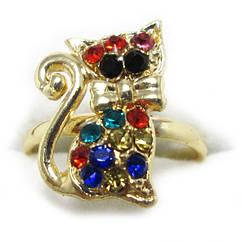 Кольцо Котик, под Золото с Цветными Стразами,  Безразмерное