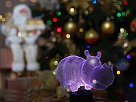 """Детский ночник - светильник """"Бегемот"""" 3DTOYSLAMP, фото 1"""