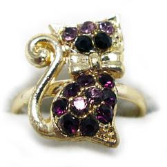 Кольцо Котик, под Золото с Фиолетовыми Стразами,  Безразмерное