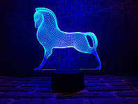 """Детский ночник - светильник """"Серебряный конь"""" 3DTOYSLAMP, фото 1"""