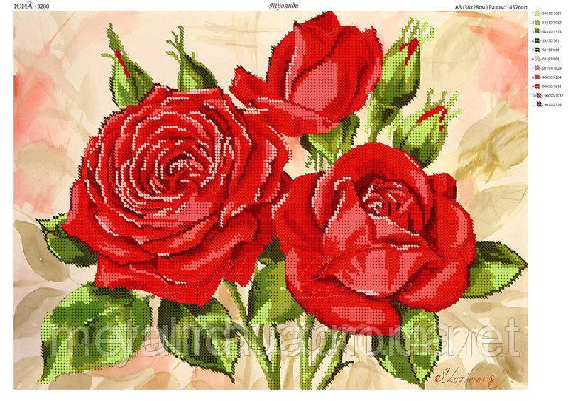 """Схема для вышивки бисером на атласе """"Розы"""""""