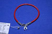 Кожаный красный браслет с серебряной застежкой 19 см 1440