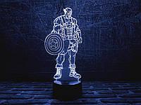 """Детский ночник - светильник """"Капитан Америка 1"""" 3DTOYSLAMP, фото 1"""