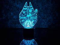 """Детский ночник - светильник """"Сокол тысячелетия"""" 3DTOYSLAMP, фото 1"""
