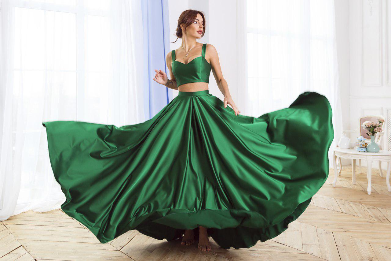 2b7111aebe6 Костюм шелковый пышная юбка в пол и топ  продажа