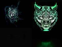 """Детский ночник - светильник """"Волк - 2"""" 3DTOYSLAMP, фото 1"""