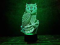 """Детский ночник - светильник """"Сова 3"""" 3DTOYSLAMP, фото 1"""