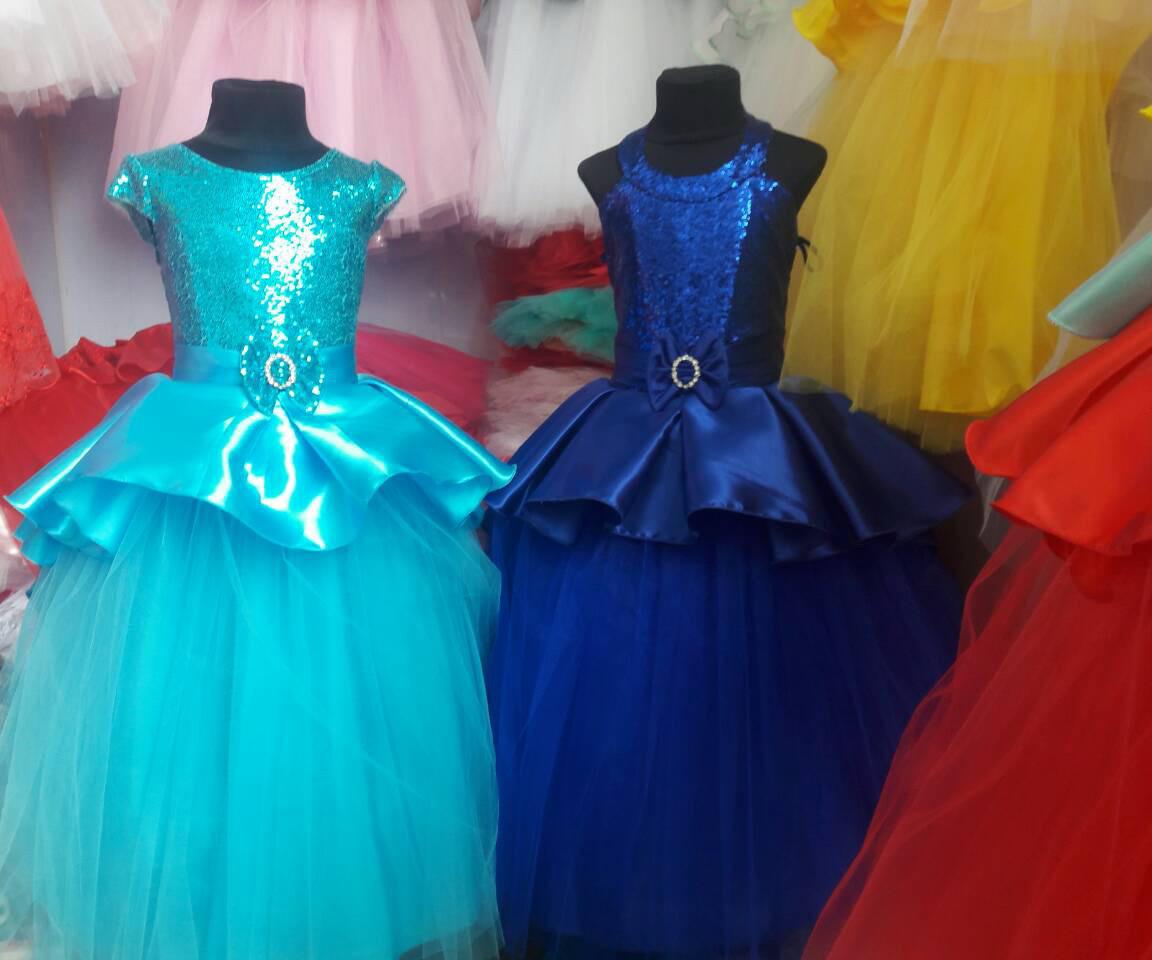 bf3823fb294 Детское нарядное бальное платье на праздник на 6-7 лет. голубой, 134:  продажа, цена в ...