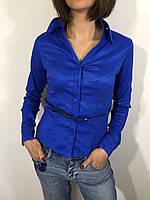 Рубашка женская 631 синяя S