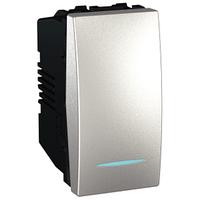 Выключатель кнопочный 1-мод. с подсветкой Алюминий Unica Schneider, MGU3.161.30N