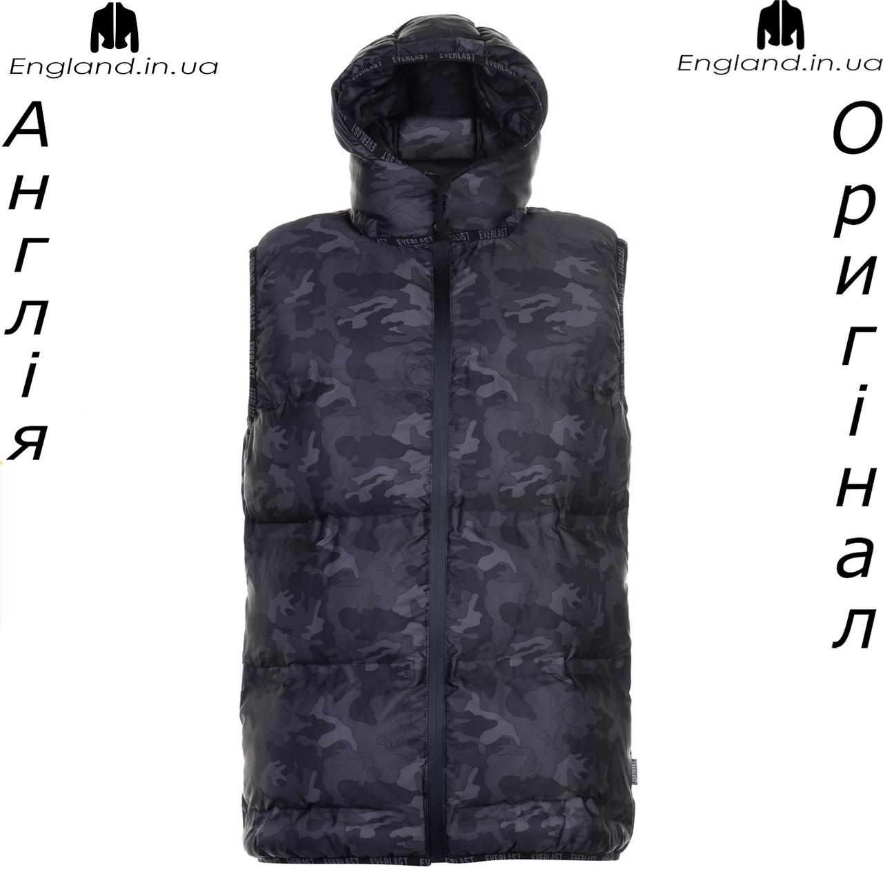 Размер - М (48). Жилет Everlast стеганый камуфляжный зимне/весенний съемный капюшон - Распродажа
