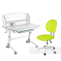 Комплект детская парта для школьника Volare II Grey + детское кресло для школьника LST1 Green FunDesk