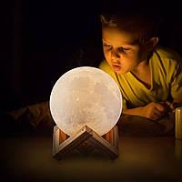 """Детский ночник - светильник """"Луна"""" 8 см 3DTOYSLAMP"""