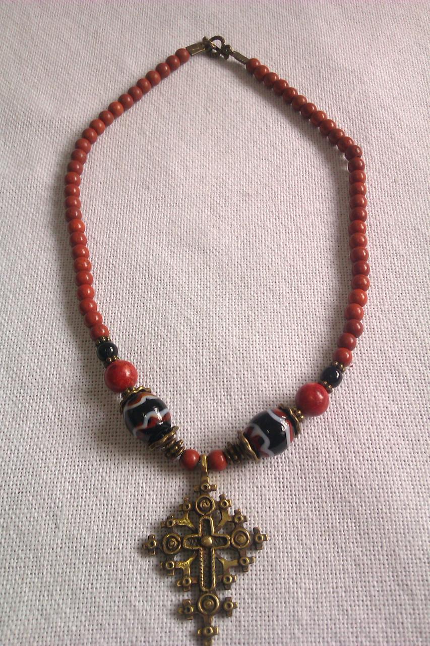 Українське намисто із натуральної кераміки, хрестик ручної роботи