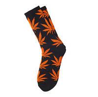 Черные носки HUF PLANTLIFE с оранжевым листом конопли